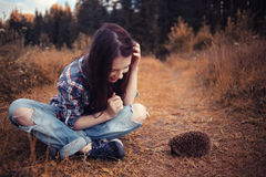 Girl playing with a hedgehog Royalty Free Stock Image
