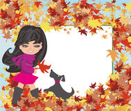Girl playing with her dog in autumn - Abstract frame Stock Photography