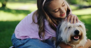 Girl playing with her dog in the park stock video footage