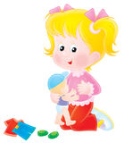 Girl playing with her doll. Isolated clipart illustration of a white-haired girl that plays with a doll Stock Photos