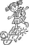 Girl playing hopscotch.Children. Stock Photo