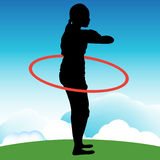 Girl Playing With Hula Hoop Royalty Free Stock Images