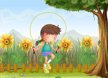 A girl playing jumping rope. Illustration of a girl playing jumping rope Royalty Free Stock Photo