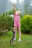 Girl playing with kitten stock photos