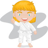 Girl playing koong-foo-karate Stock Photo