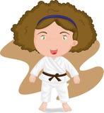 Girl playing koong-foo-karate Stock Images