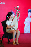 Girl in playing the  lute Royalty Free Stock Photography