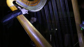 Girl playing music on the harp stock video footage