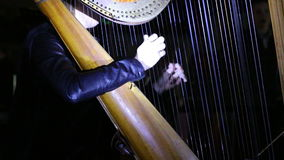 Girl playing music on a harp stock video