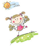 Girl playing outdoors. Happy cartoon girl playing outdoors stock illustration