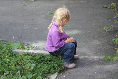 Girl playing outdoors 18555 Royalty Free Stock Image
