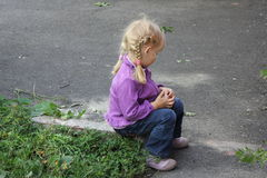 Girl playing outdoors 18556 Royalty Free Stock Photos