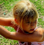 Girl playing outside Royalty Free Stock Photos