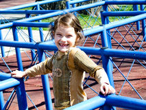 Girl playing in park maze Royalty Free Stock Photography