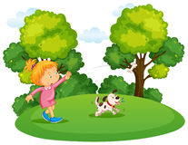 Girl playing with pet dog in park stock illustration