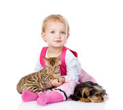 Girl playing with pets - dog and cat. looking at camera. isolated. On white royalty free stock photography