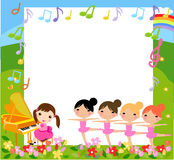 A girl playing piano and four girls dancing Royalty Free Stock Photography