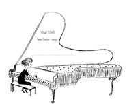 Girl playing piano sketch - background for a musical concert Stock Photos
