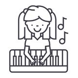 Girl playing on piano vector line icon, sign, illustration on background, editable strokes vector illustration