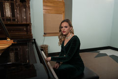 Girl Playing the Piano Royalty Free Stock Images