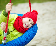 Girl is playing on playground royalty free stock photo