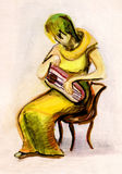 The girl playing a psaltery Royalty Free Stock Photos