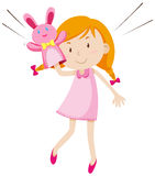 Girl playing with rabbit puppet. Illustration Royalty Free Stock Image