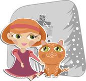 Girl playing with a red cat Stock Image