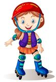 A girl playing roller skate. Illustration royalty free illustration