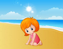 Girl playing a sand at the beach. Illustration of Girl playing a sand at the beach Royalty Free Stock Images