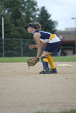 Girl Playing Second Base on Softball Field Stock Photography
