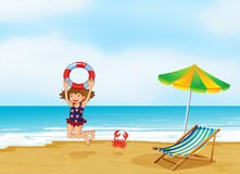 A girl playing at the shore. Illustration of a girl playing at the shore vector illustration