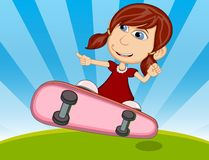 Girl playing skateboard cartoon vector illustration Stock Photos