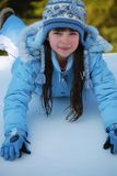 Girl Playing a Snow royalty free stock photography
