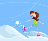 Girl playing in snow. Happy girl playing with snow in winter Royalty Free Stock Photos