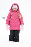 Girl playing with snow. And having fun outdoor Royalty Free Stock Photo