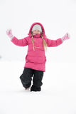 Girl playing with snow. And having fun outdoor Stock Photos