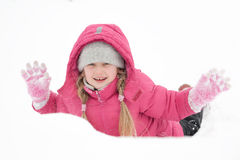 Girl playing with snow. And having fun outdoor Stock Photo
