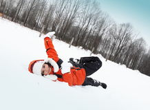 Girl Playing with Snow Outdoors Royalty Free Stock Images
