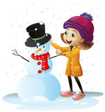 Girl playing in snow with snowman. Illustration Royalty Free Stock Photos