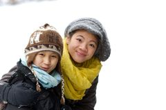 Girl playing in the snow in winter in denmark stock photo