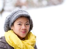Girl playing in the snow in winter in denmark stock image