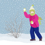 Girl playing snowballs Royalty Free Stock Photos