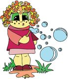 Girl playing with soap bubbles. Flat style pattern, cartoon characters, isolated royalty free illustration