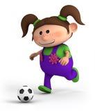 Girl playing soccer vector illustration