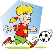 Girl Playing Soccer Stock Images