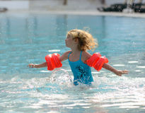 Girl playing in the swimming pool Royalty Free Stock Photo