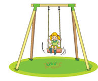 Girl Playing on a Swing, illustration Royalty Free Stock Image