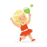 Girl playing table tennis, kid serving ping pong ball with racket colorful character vector Illustration Royalty Free Stock Photos