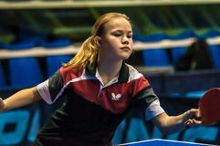 Girl playing table tennis Stock Photography